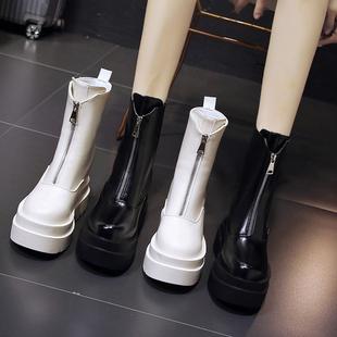 2020秋冬季10cm内增高马丁靴女厚底高跟短靴子百搭显瘦中筒靴
