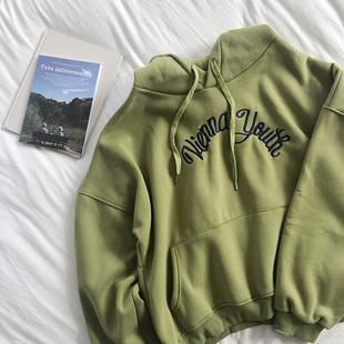 RENA冬季加厚加绒保暖活力少女绿色字母刺绣连帽显瘦百搭卫衣