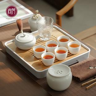 茶具套装家用简约日式侧把茶壶现代小套泡茶禅意功夫茶具陶瓷茶盘