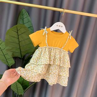 超洋气女童公主裙小童短袖裙子夏洋气女宝宝蛋糕裙婴儿连衣裙碎花