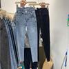 2021秋季设计感排扣紧身小脚牛仔裤女夏高腰薄款九分蓝色铅笔裤子