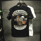 查看精选Himan西海岸阿美咔叽复古骷髅头T恤短袖男欧美风摇滚摩托机车朋克最新价格