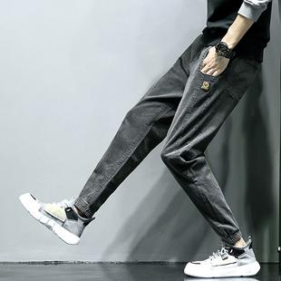 弹力牛仔裤男士秋冬款束脚长裤潮流加绒加厚宽松工装裤子