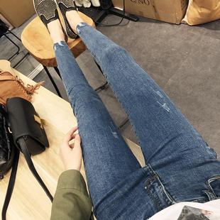 一米五五150cm145矮小个子女装155显高百搭超火ins牛仔裤小脚裤春