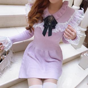 复古宫廷风软妹少女拼接网纱蕾丝花边娃娃领纯色针织毛衣连衣裙仙