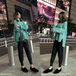 大码女装2018秋冬装微胖妹妹毛衣减龄洋气网红显瘦套装两件套