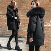 2018冬装小个子羽绒服女宽松加厚大毛领中长款茧型外套潮
