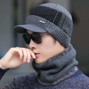 帽子男士冬季保暖毛线帽百搭潮秋冬天加绒骑车棉帽防寒针织帽