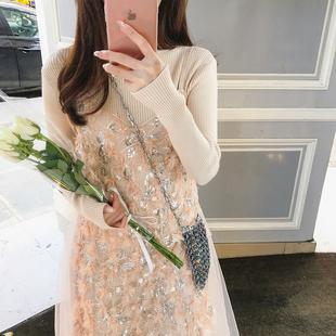 李雨薇 刺绣亮片网纱吊带过膝很仙的法国小众连衣裙