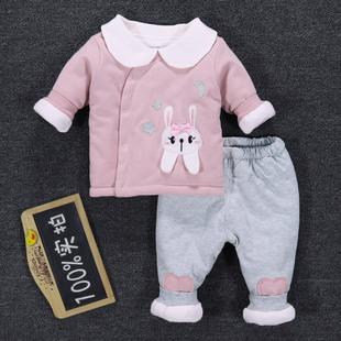 婴儿保暖薄棉夹棉衣服两件套装冬季加棉粉公主秋冬装女宝宝0一1岁