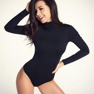 欧美纯色高领长袖T恤女冬性感百搭打底连体上衣舞蹈bodysuit