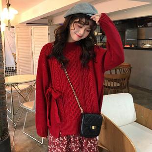 很仙的毛衣洋气上衣甜美百搭慵懒风春季宽松绑带加厚长袖针织衫女