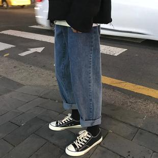 秋冬自制港味复古宽松直筒牛仔裤chic潮流帅气百搭阔腿牛仔裤