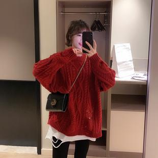 红色套头针织衫女2018冬季宽松长袖圆领镂空百搭毛衣外套