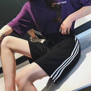 2019运动短裤女夏宽松高腰五分裤直筒中裤大码潮外穿