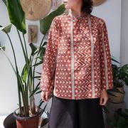 Bagru植物染文艺日版宽松廓形有机棉套头圆领红色印花上衣衬衫夏