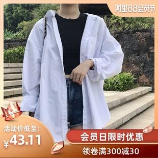 2019春秋宽松衬衫女长袖港味学生vetiver慵懒设计感上衣