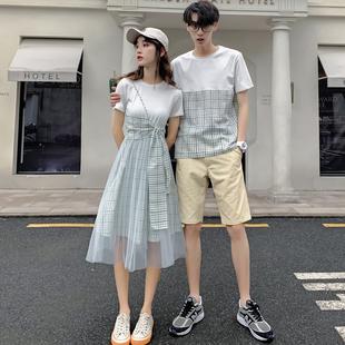 情侣装夏装2019ins短袖T恤套装气质你衣我连衣裙子小众设计感