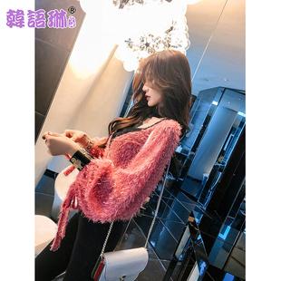 韩语琳2019女装春装灯笼袖挂脖V领上衣宽松红色流苏雪纺衫女