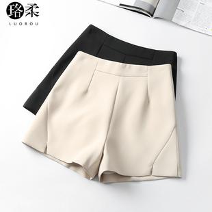 雪纺短裤女春季2019高腰a字阔腿大码显瘦西装黑色裤夏秋