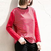 孜索2019圆领拼接长袖T恤女条纹红色上衣韩版宽松内搭打底衫
