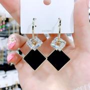 黑色几何方块耳环女个性百搭银针耳钉耳坠简约气质长款耳饰品