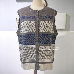 韩国OPEN PRIMARY 18冬款文艺复古花纹无袖针织马甲外套女4色