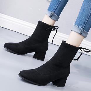 2018秋冬百搭瘦瘦靴短靴女粗高跟欧美绑带中筒骑士靴温州女鞋