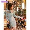 韩语琳2019女装冬装长袖钉珠打底性感裙子气质连衣裙