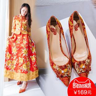 秀禾鞋女2018结婚鞋子新娘红鞋龙凤扣高跟鞋婚礼鞋细跟踩堂鞋