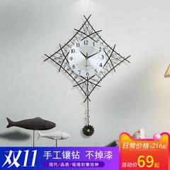 摇摆钟客厅大挂钟现代简约创意挂表家用个性静音装饰艺术壁挂钟表