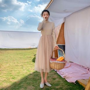 2019春装网纱连衣裙子女秋冬法国小众过膝法式复古裙山本超仙