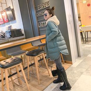 冬季2018连帽拼接棉衣女中长款羽绒面包服小个子棉袄加厚外套
