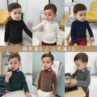 辰辰妈婴童装儿童冬季男宝宝长袖T恤1-3岁男童高领磨毛纯色打底衫
