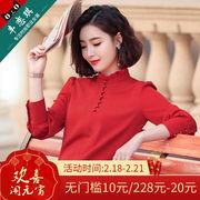 雪纺衬衫女长袖2019春装时尚蕾丝打底衫女士上衣立领红色衬衣