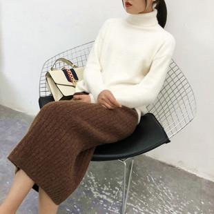 秋冬季羊毛长裙加厚针织半身裙女中长开叉一步裙包臀毛线裙子