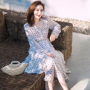 夏季波点雪纺连衣裙长裙超仙显瘦泰国普吉岛三亚沙滩裙海边度假女