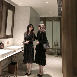 曾小咸 秋冬气质丝绒很仙的年会礼服黑色V领连衣裙长裙女蛋糕裙