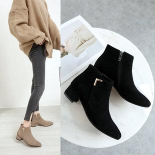 短靴女秋冬真皮裸靴平底及踝靴加绒马丁靴粗跟尖头平跟女靴子