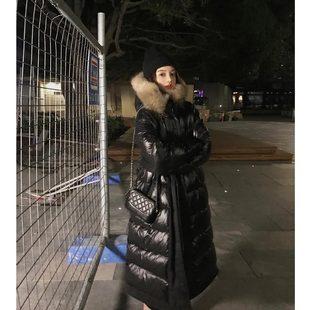 过膝中长款大毛领网红羽绒服女2018流行两面穿鹅绒服长款外套