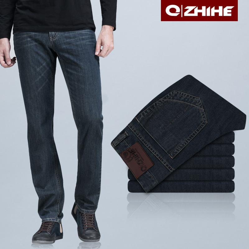 Джинсы мужские QZHIHE 102 прямые брюки (окружность голени=окружности отворота) стандартная джинсовая ткань модная одежда для отдыха 2012