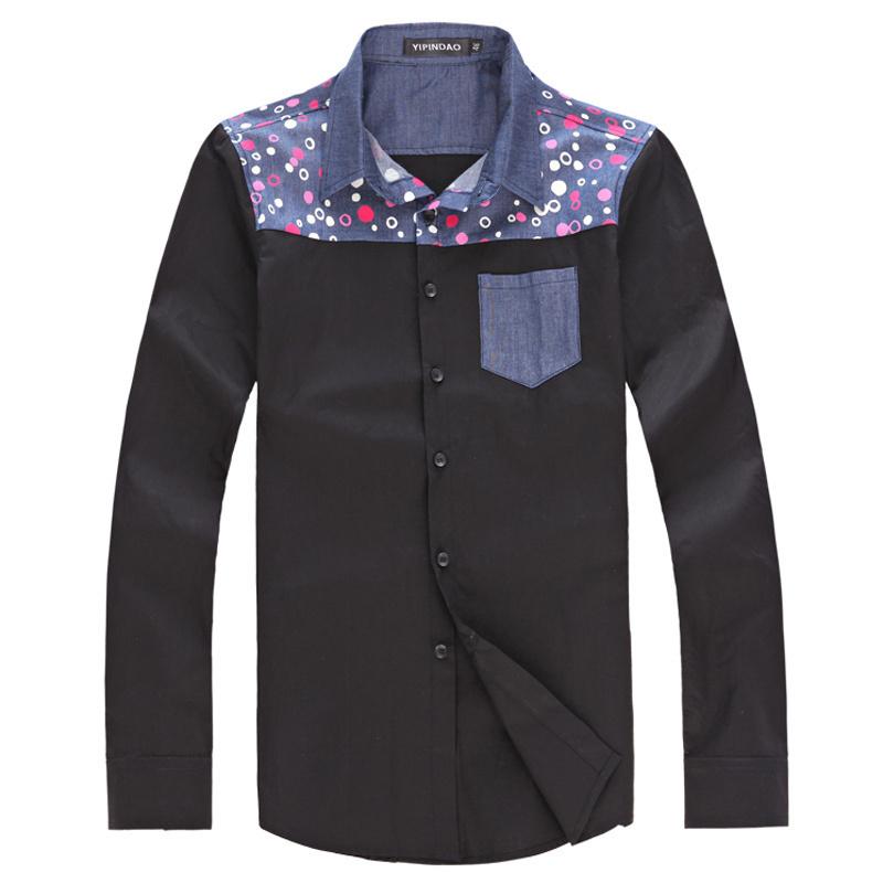 Рубашка мужская By channel 1254020 Хлопок без добавок Квадратный воротник Длинные рукава ( рукава > 57см )