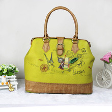 The new 2014 high-grade PU han edition printed one shoulder female bag handbag personality patch handmade bag mail tide