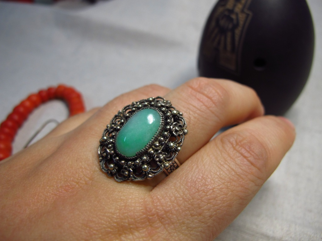 Нефрит Старое серебро 800 нитей нефрита кольца (удовлетворение)