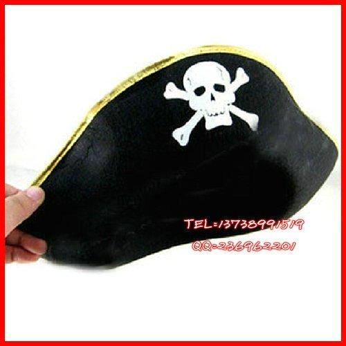 Головной убор для карнавала 万圣节海盗服饰 海盗帽子 海盗演出帽 加勒比海盗船长帽(扁)
