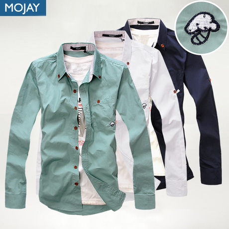 Mojay Slim Cotton Pointed Collar Solid Casual Men Long-Sleeved Shirt