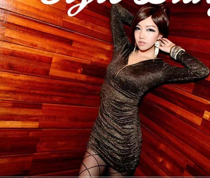 Женское платье 2012 новые iampretty Корейский сексуальные ночной клуб партии v воротник блестящие платье