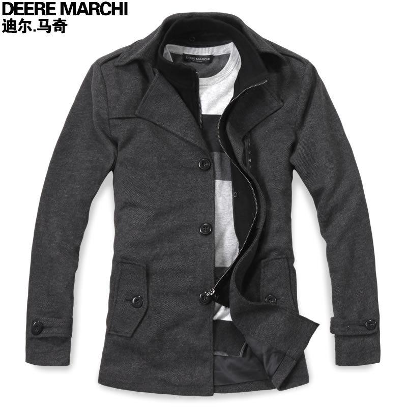 Пальто мужское DEERE MARCHI 2012 DJ34 Кашемир из овечьей шерсти для пальто Двухслойный воротник