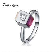 JG S925 silver ring han edition natural agate powder crystal amethyst ring authentic female fashion accessories bag mail