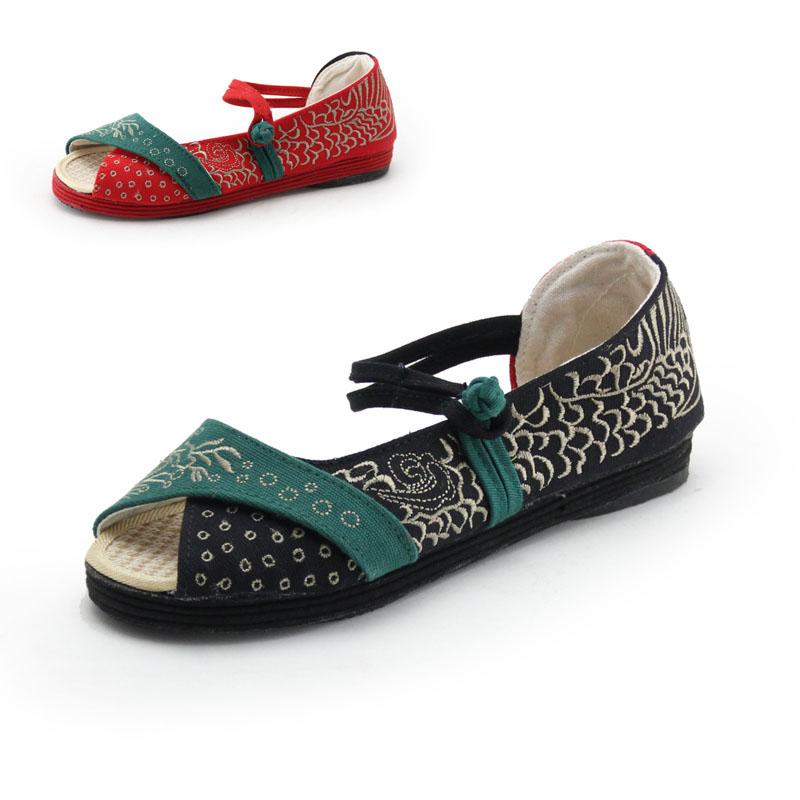 老北京布女凉鞋